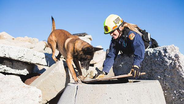 Elizabeth and her dog conducting search and rescue
