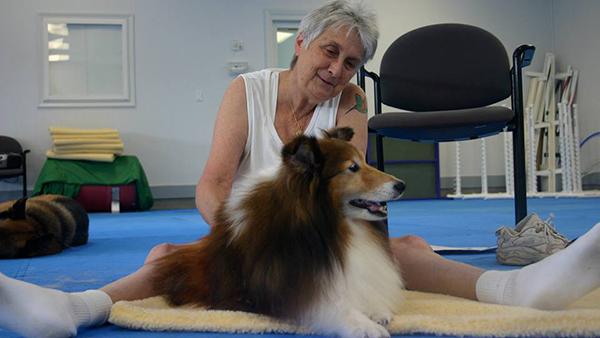 dog and masseuse at perfect pet resort